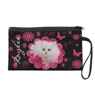 Precious Kittens Cats Pink Flowers Wristlet Purse