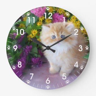 Precious Kittens Pink Purple Yellow Flowers Large Clock