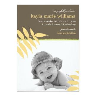 Precious Leaves Baby Birth Announcement