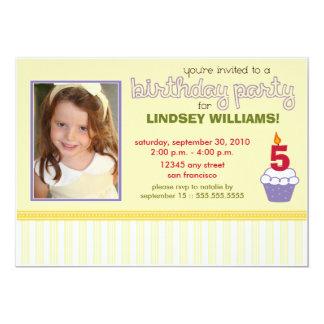 Precious Lemon Cupcake Girls Birthday Party Invite