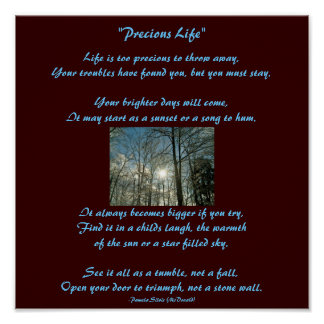 Precious Life-Poem Poster-Sun Design-by Me Poster