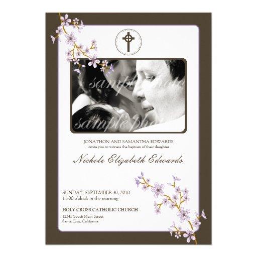 Precious Lilac Cherry Blossom Baptism Invitation