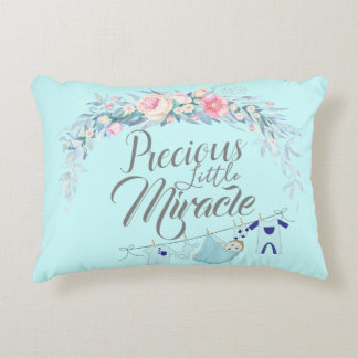 Precious Little Miracle Blue Accent Pillow