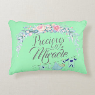 Precious Little Miracle Green Accent Pillow