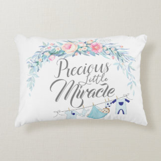 Precious Little Miracle White Accent Pillow