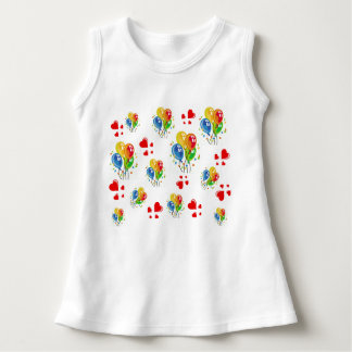 Precious Little White Dress with Balloons & Hearts Tee Shirts
