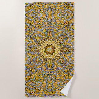 Precious Metal Vintage Kaleidoscope   Beach Towel