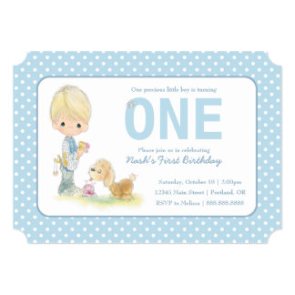Precious Moments | First Birthday - Boy with Puppy Card
