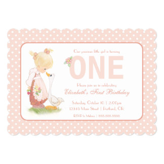 Precious Moments | First Birthday - Girl with Duck Card