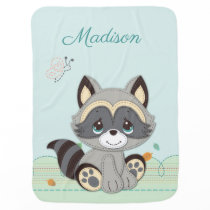 Precious Moments | Woodland Baby Raccoon Swaddle Blanket