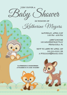 Precious moments invitations zazzle precious moments woodland baby shower invitation filmwisefo