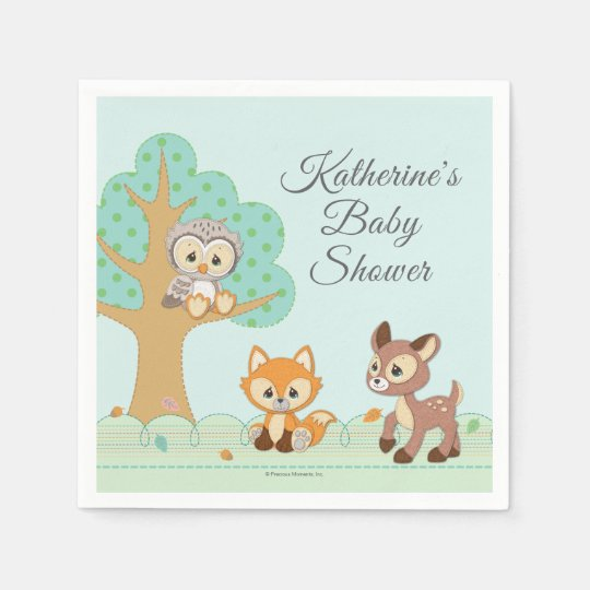 Precious Moments Baby Shower Party Supplies: Woodland Baby Shower Paper Napkin