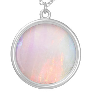 Precious opal silver plated necklace