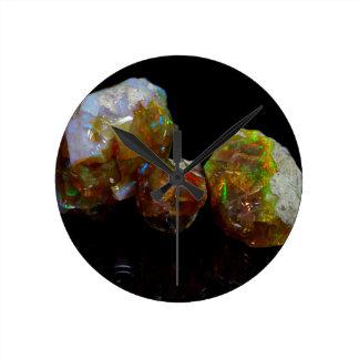 Precious opals round clock