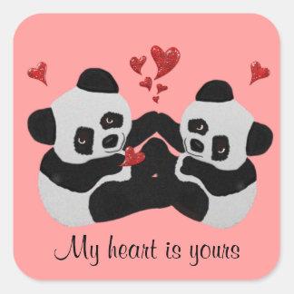 Precious Panda Hearts Square Sticker