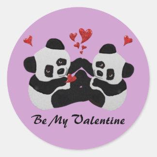 Precious Panda Valentine Classic Round Sticker