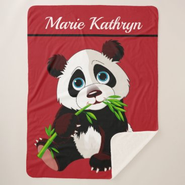 Professional Business Precious Panda Wrapped in Love Sherpa Blanket