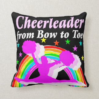 PRECIOUS PINK CHEERLEADER FROM BOW TO TOE DESIGN THROW PILLOW