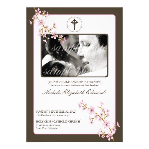 Precious Pink Cherry Blossom Baptism Invitation