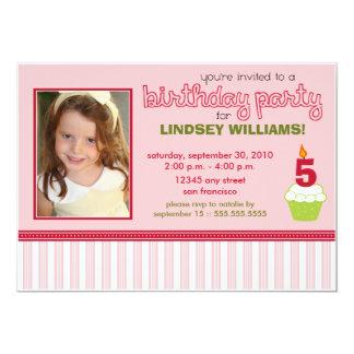 Precious Pink Cupcake Girls Birthday Party Invite