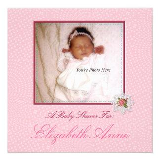 Precious Pink Girl Photo Baby Shower Invitations