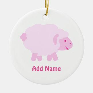 Precious Pink Little Lamb Ceramic Ornament