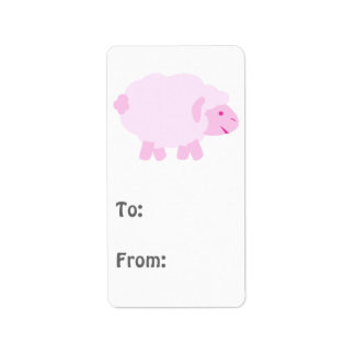 Precious Pink Little Lamb Personalized Address Labels