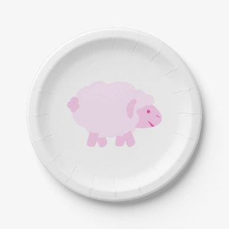 Precious Pink Little Lamb 7 Inch Paper Plate