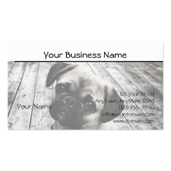 Precious Pug Puppy in Black and White Business Card