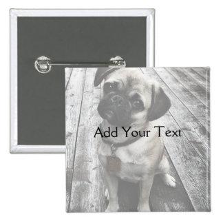Precious Pug Puppy in Black and White Button