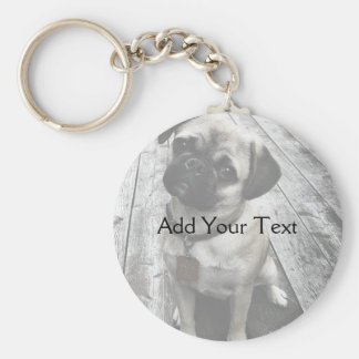 Precious Pug Puppy in Black and White Keychains