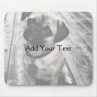 Precious Pug Puppy in Black and White Mouse Pad