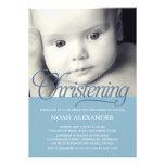 Precious Script Photo Christening Invitation -Blue Personalized Announcement