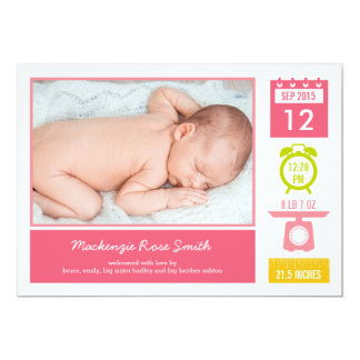 Precious Statistics Birth Announcement - Pink