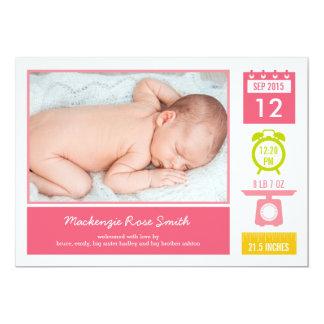 Precious Statistics Birth Announcement - Pink Personalized Invites
