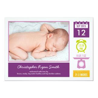 Precious Statistics Birth Announcement - Purple