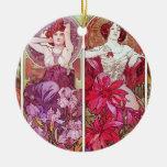 Precious Stones and Flowers, Alphonse Mucha Ceramic Ornament