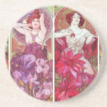 Precious Stones and Flowers, Alphonse Mucha Drink Coasters
