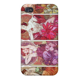 Precious Stones and Flowers, Alphonse Mucha Cover For iPhone 4