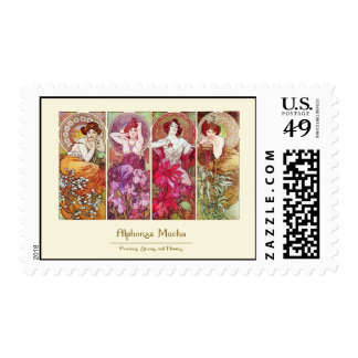 Precious Stones and Flowers, Alphonse Mucha Postage Stamps