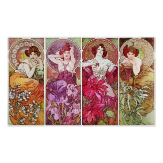 Precious Stones and Flowers, Alphonse Mucha Poster