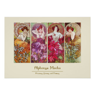 Precious Stones and Flowers, Alphonse Mucha Posters