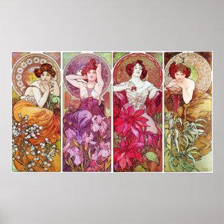 Precious Stones and Flowers, Alphonse Mucha Print