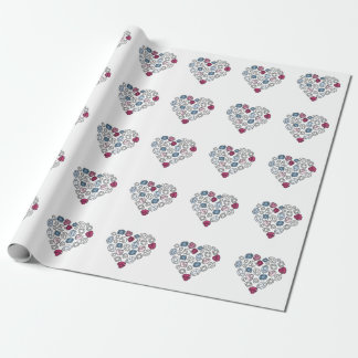 precious stones blinking heart gift wrapping paper