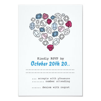 precious stones blinking heart RSVP Personalized Announcement