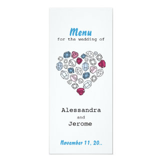 precious stones blinking heart vertical menu card