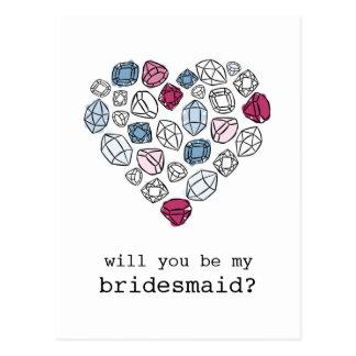 precious stones heart my bridesmaid vertical postcards