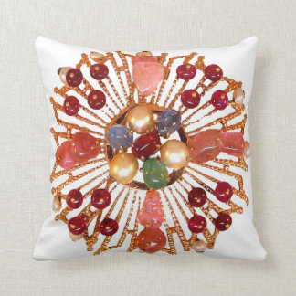 Precious Stones Vintage Costume Jewelry SOFA BLING Throw Pillow