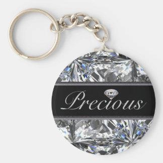 Precious White Gem Design Basic Round Button Keychain