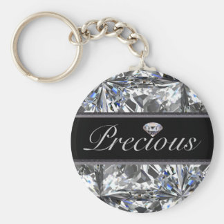 Precious White Gem Design Keychain